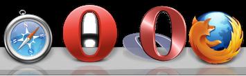 Nye og gamle Opera ikonet samt Safari og Firefox