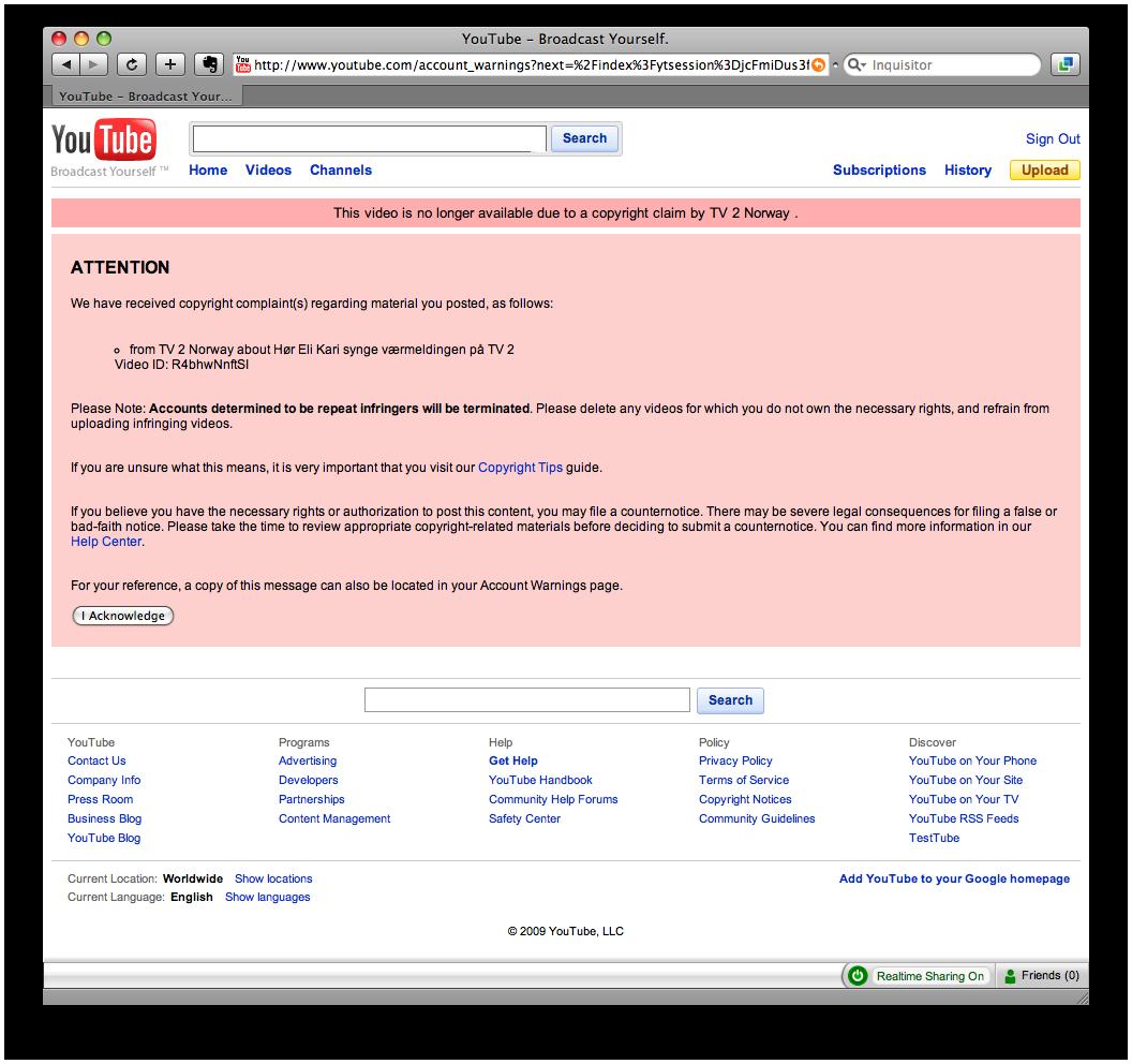 Advarsel i YouTube om brudd av copyright og fjernet video