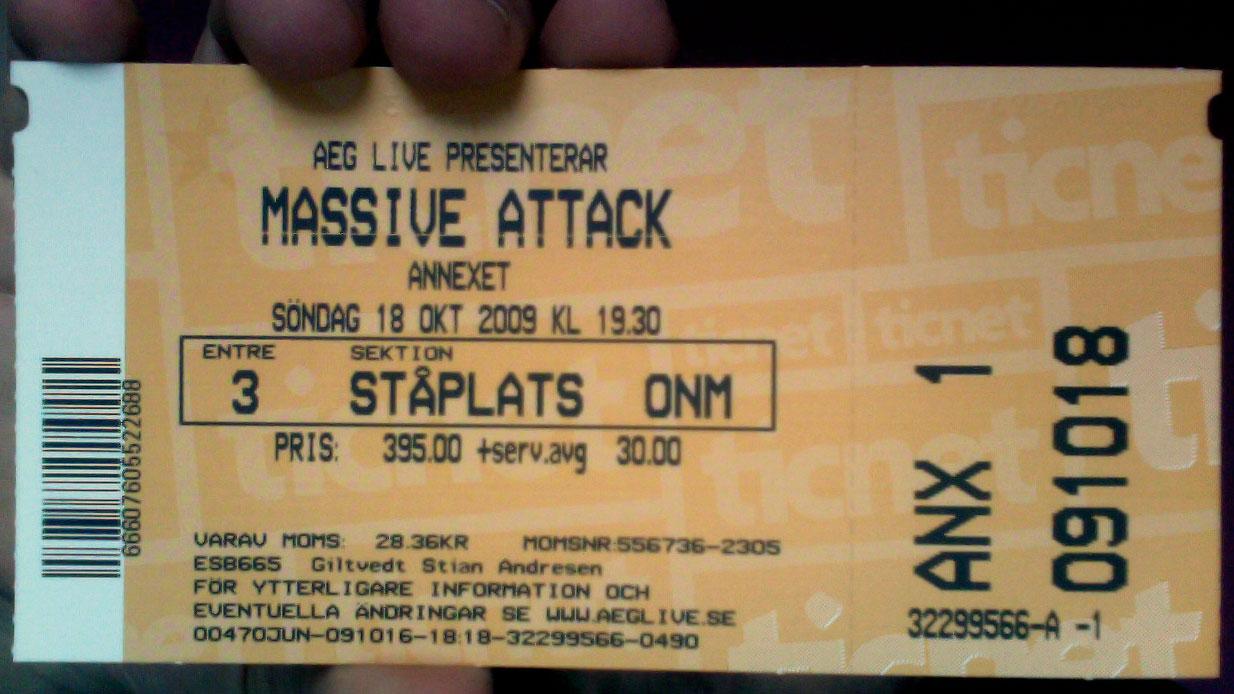 Sikret meg billett til Massive Attack